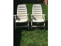 plastic garden furniture 2 chairs 1 bench