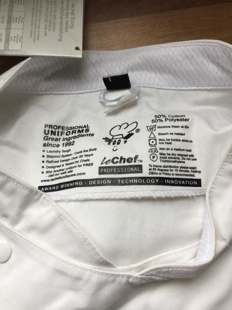 Le chef professionals short sleeve chef jacket brand new