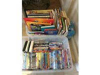 Children's dvds and books 2 large boxes