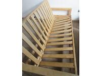 Futon Company Sofa Bed - Oak, 3 seater sofa / double bed