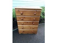 Solid pine 5 drawers chest