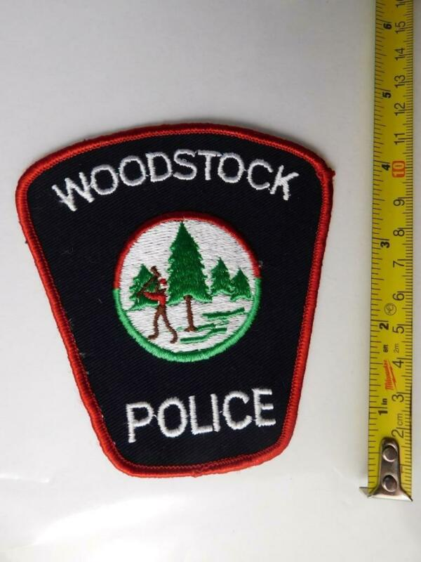 WOODSTOCK POLICE VINTAGE PATCH BADGE ONTARIO CANADA TREE CUTTING AXECOLLECTOR