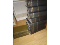 Volumes of old jewish encyclopedias and history books.