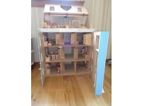 Wooden Doll's House + Furniture