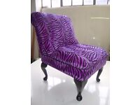 Purple Zebra Print Bedroom Chair