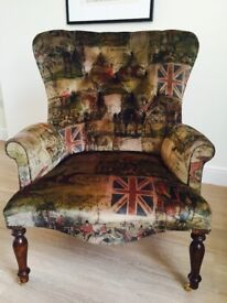 WINGBACK CHAIR - STUNNING HUNT SCENE