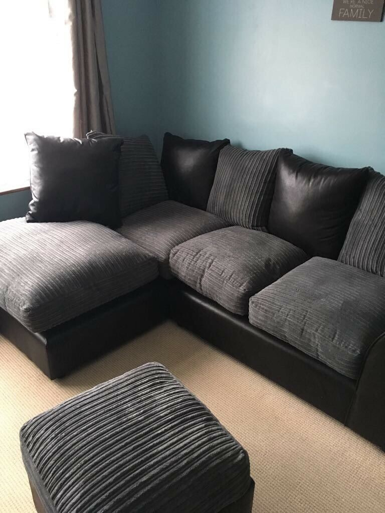 Charcoal Bailey Leather Jumbo Cord Left Corner Sofa And Storage Cube