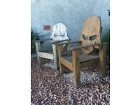 Solid, hand carved Star Wars chairs, perfect for the garden. One Darth Vader and one Storm Trooper