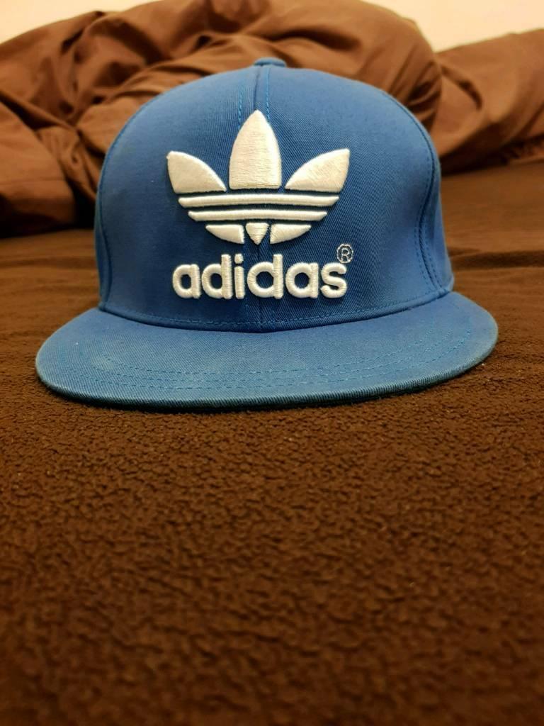 Adidas Originals Blue Flat Cap Fullcap Full Old school large size L CLASSIC  . Condition is Used a5fa365c53ff