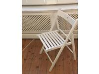 Wooden, white, folding dining chairs x 4