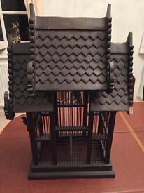 Wooden ornamental bird cage