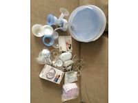 Philips Avent Electric Breast Pump. With microwave steriliser and sealed spare parts.