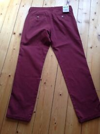 Mens Chinos. Brand new with labels. Maroon. 32 w, 32 leg