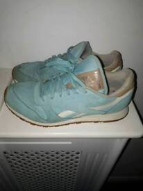Pair of pale blue ladies Reebok trainers. Used but Ok condition.
