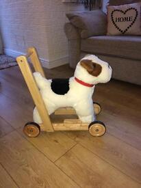 Walker, fox terrier wooden/plush traditional walker/ride on.