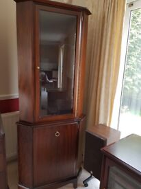 Stag corner display cabinet, complete with display light and switch, built in