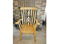 Solid Pine Tall Fiddleback Chair