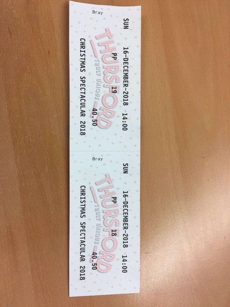 4 X Thursford Christmas Spectacular Tickets - Sunday 16th December ...