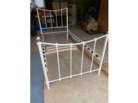 Single-bed frame (white metal). Excellent condition