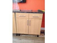 Kitchen base unit and corner unit. Beech