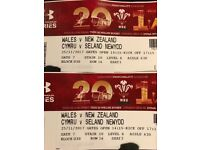 Wales v All Blacks. Sat 25. 17.15. Pair on halfway line. Upper level very close to entrance.