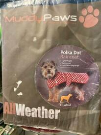 Muddy Paws X-Large Polka Dot Raincoat