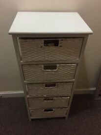 White wood and wicker style storage drawers