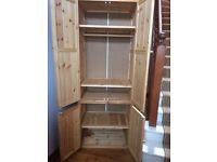 Child's wardrobe and base storage unit in wood