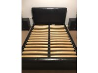 Dark Brown Faux Leather Bed