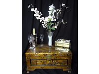 Antique Oriental Magnificently Carved Flowers & Sailing Ships Camphor Wood Chest Coffee Table