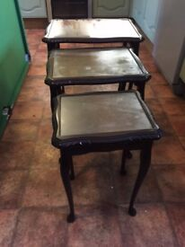 NEST OF 3 TABLES WITH GLASS TOPS WHICH CAN BE REMOVED, IDEAL FOR SHABBY CHIC, DELIVERY AVAILABLE