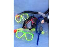 3 kids snorkels & zoggs goggles