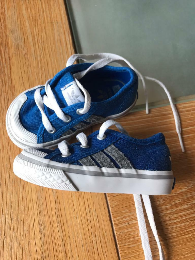 Addidas blue baby trainers