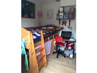Childrens Pine Cabin Bed with Desk