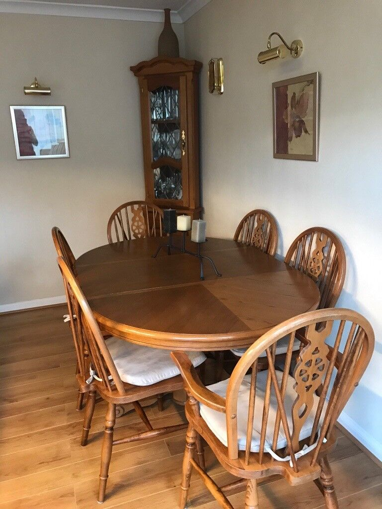 6 Dining Room Chairs Table With Matching Oak Corner Unit