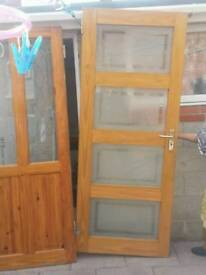 TWO WOODEN GLASS DOORS