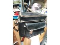 Vintage old leather pouch bag. Camera case