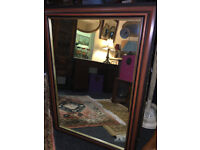Splendid Very Large Antique Style Mirror with Ornate Mahogany Wood & Gilt Frame