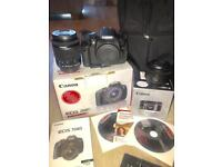 Canon 700D SLR digital camera with multiple accessories