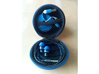 Hard Storage Case With Earphones & Micro USB Cable Blue
