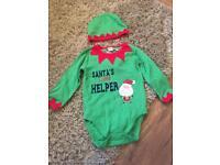 Santa's Little helper vest and hat 12-18 months