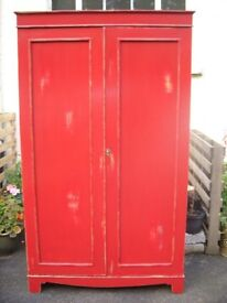 vintage red pink double wardrobe Annie Sloan painted style, distressed cupboard, shabby chic armoire