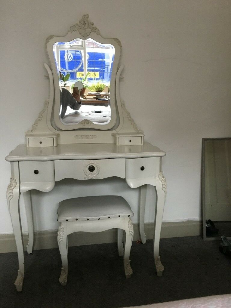 Creamwhite French Antique Style Dressing Table With Mirror And Stool
