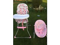 Girls highchair and bouncy chair
