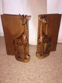 Handcarved Wooden Giraffe Bookends