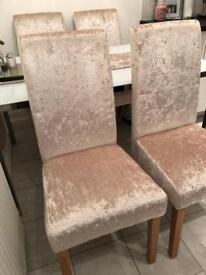 Cream Crushed Velvet Dining Chair