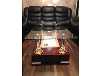 Brand New High Gloss Coffee Table with Wooden Base and Clear Glass top, High Quality Dark Red Colour