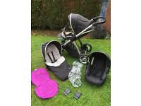 Oyster max double/single pushchair with extras