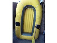 Inflatable 2 man dinghy 7ft cariddi 4 make comes with pump and oars vgc