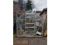 Greenhouse, glass panels, aluminium frame, sliding door, 2x2